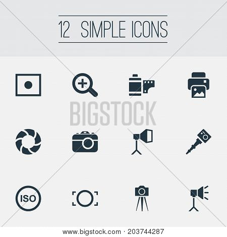 Elements Flame Instrument, Photo Tape, Light Level And Other Synonyms Image, Augment And Copier.  Vector Illustration Set Of Simple Photograph Icons.