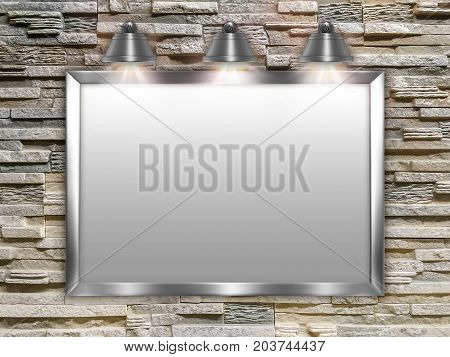 Mock-up illustration in 3d - Template of a board (flip chart) for writing illuminated by lamps hanging on a wall from a decorative stone