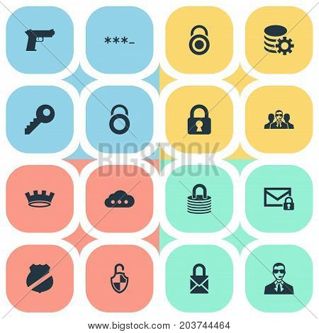 Elements Top Secret, Corona, Locker And Other Synonyms Locker, Database And Gun.  Vector Illustration Set Of Simple Protection Icons.
