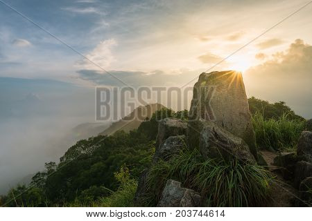 Beautiful Viewed From Above The Lion Rock Peak In Hong Kong, China, In Morning Time