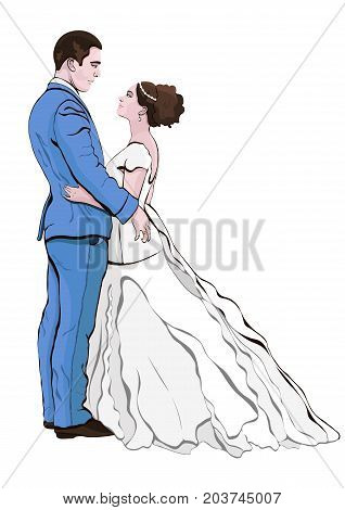 Bride and groom cartoon vector, hand drawing. Couple in love hugging looking at each other, dressed in a wedding dress and a suit, isolated on white background