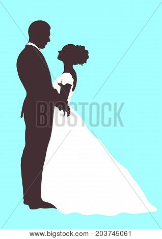 Bride and groom silhouette, vector icon, outline cartoon contour drawing. Couple in love hugging looking at each other, dressed in a wedding white dress and a suit, isolated