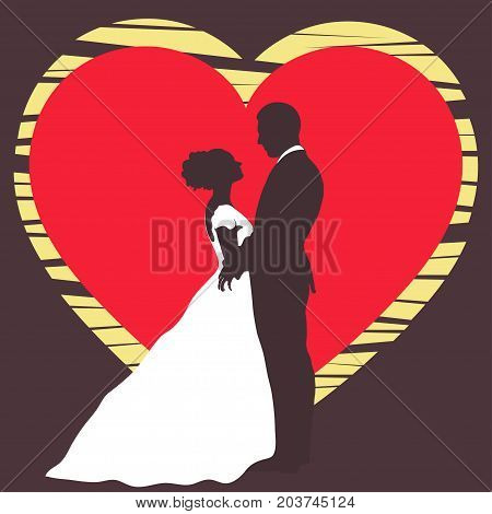 Bride and groom silhouette, wedding invitation, card, vector outline cartoon drawing. Couple in love hugging, dressed in a wedding white dress and a suit on the background