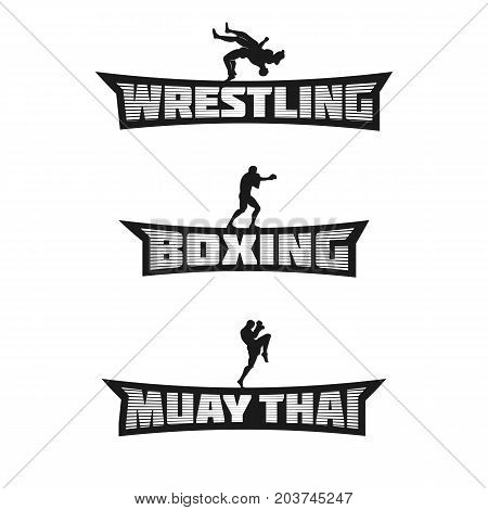 Combat Sports Monochrome Team Badges. Wrestling, Boxing and Muay Thai Words. Templates for your gym, apparel, stickers, t-shirt, emblem, combat club, signs, prints or web works