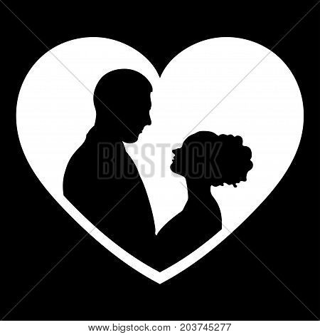 Couple in love silhouette, vector flat icon, logo, bride and groom outline drawing. Contours of loving men and women looking at each other in the white heart-shaped frame, isolated