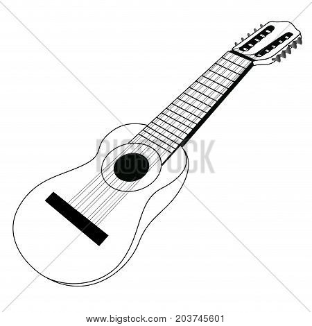 Isolated Banjo Silhouette