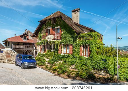 Annecy France - May 25 2016: Appartement Les Jardins du Chateau in Annecy France. Annecy is a commune in the Haute Savoie department of the Rhone-Alpes region in south-eastern France.