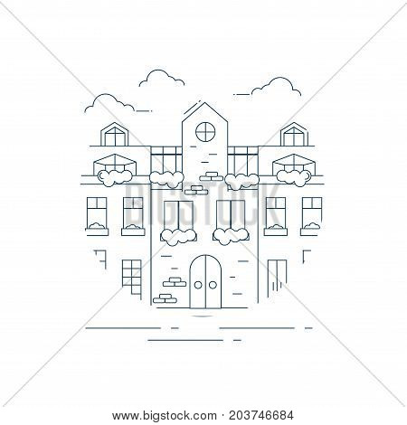 European cityscape or street in line art or outline style. European urban small hotel linear or outline illustration could be used as line icon.
