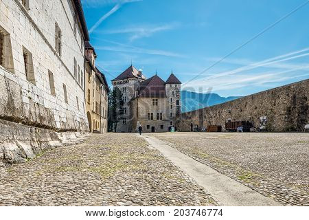 Annecy France - May 25 2016: The Annecy Castle (Chateau d'Annecy) at town of Annecy in the Haute-Savoie department of France.