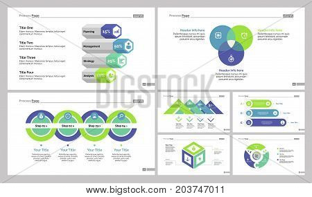 Infographic design set can be used for workflow layout, diagram, annual report, presentation, web design. Business and finance concept with process, bar, Venn and percentage charts.