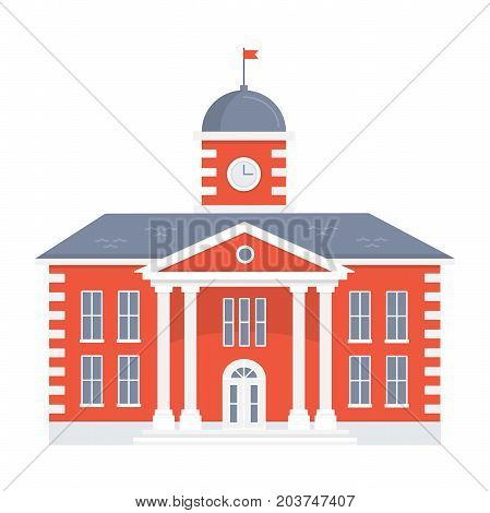 School building on white background. Back to school. The facade of the old college. vector flat illustration