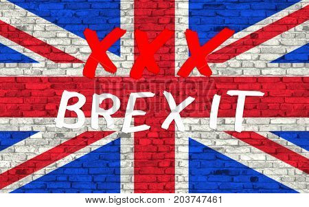 The text symbolize STOP brexit. 3D rendering