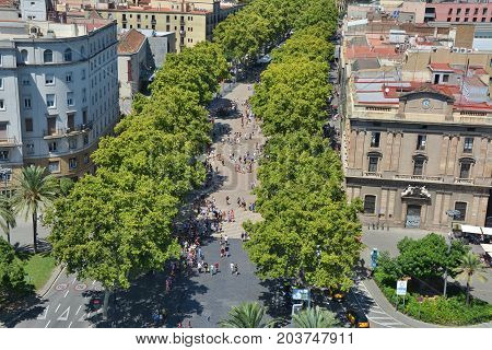 Top view on La Rambla in Barcelona old town