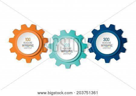 Three elements gear chart, scheme, diagram. 3 Infographic template.