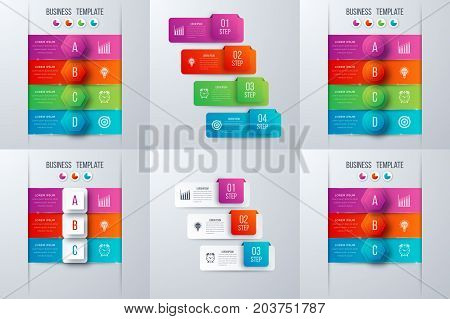 Set with infographics. Data and information visualization. Template. Stock vector. Dynamic infographics stylish geometric. element for design business invitations, gift cards, flyers and brochures