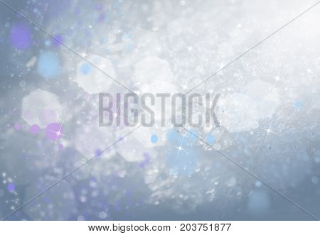 Winter grey soft background with bokeh and stars