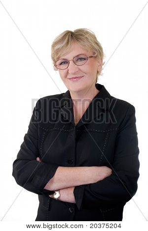 senior confident business woman in 50s, vertical portrait