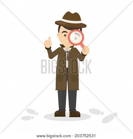 Detective with glass looking for footsteps on white background.