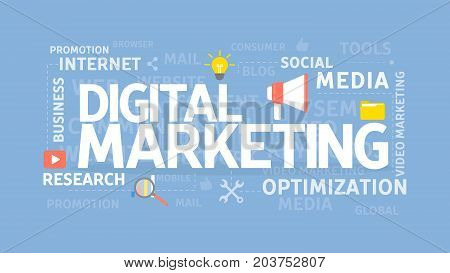 Digital marketing concept. Social media and research, optimization and internet.