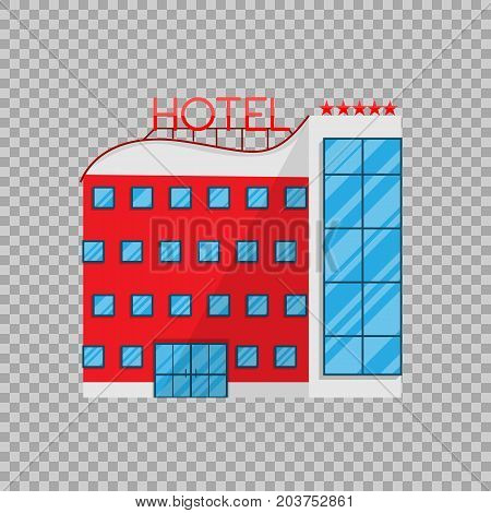 Hotel in Flat style isolated on transparent background Vector Illustration. The building architecture holiday home, removing Apartments For tourism accommodation Illustration for your projects.