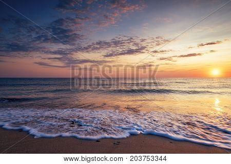 Scenic view of beautiful sunrise above the sea