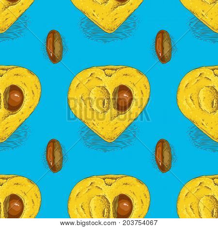 Seamless Pattern with Ripe Yellow Canistel or Eggfruit in Cross Section with Seed on a Blue Background