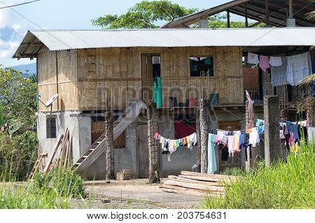 June 6 2017 Misahualli Ecuador: typical house architecture in the Amazon area