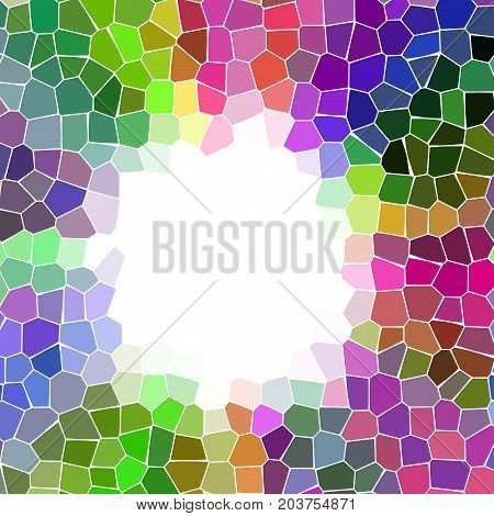 Round mosaic colorful pieces mosaic frame with white space for text
