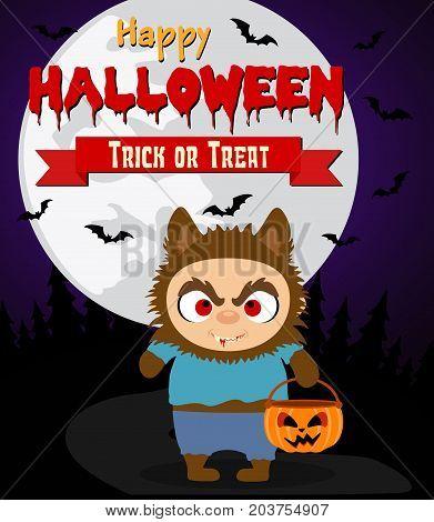 Halloween background with funny kid werewolf.Vector illustration