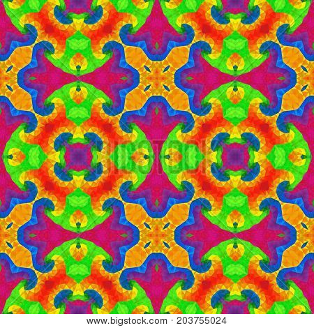 mosaic kaleidoscope seamless pattern texture background - full spectrum colored with vibrant significant color
