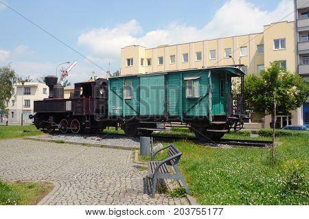 PREROV, CZECH REPUBLIC, MAY 31, 2017: An old-fashioned steam train in a public park as a memorial