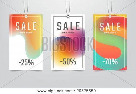 Sale tag collection with abstract blur colorful fluid background. Modern rectangular discount labels. Applicable for advertising in store, flyers, banners, posters. Vector eps 10.