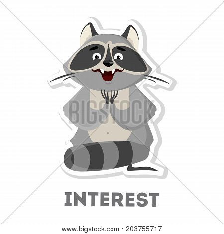 Isolated interested raccoon on white background. Funny cartoon animal.
