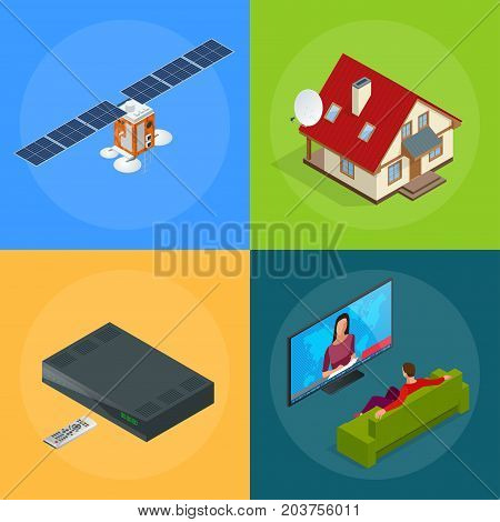 Four isometric web concepts a house with an antenna, satellite, a TV tuner, a man watching television. Wireless Technology and Global communication. GPS satellite vector illustration World global net