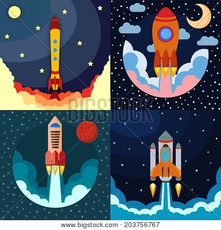 Set of four space rocket ship in round piece. Space rocket launch. Project startup and development process concept. The rocket flies upwards.