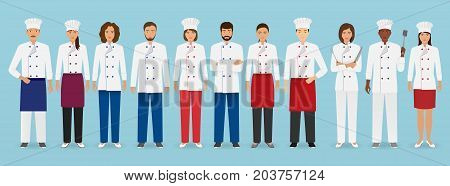 Food service occupation team standing in uniform. Group of catering characters chef cook waiters and barman. Welcoming banner. Vector illustration.