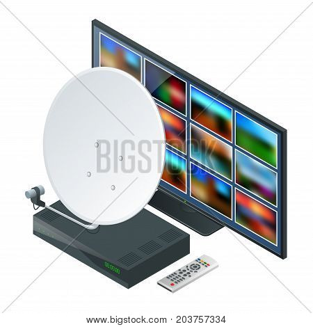 Isometric icon an antenna, a TV tuner, TV. Wireless Technology and Global communication. Vector illustration World global net