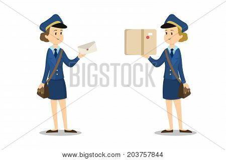 Isolated postwomen with parcel box and envelope on white background.