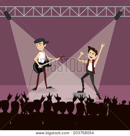 Rock group concert. Funny happy band and audience. Singer and guitarist.