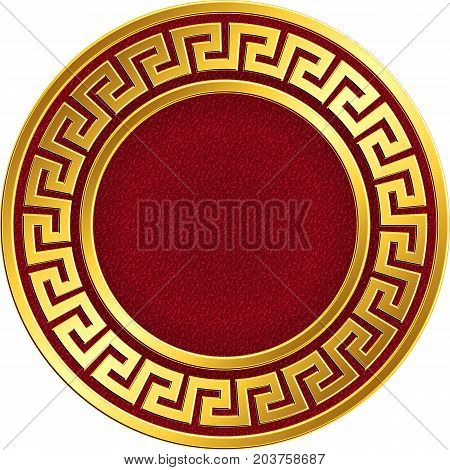 Golden round frame with traditional vintage Greek Meander pattern on the red background for design template. Gold pattern for decorative tiles and plates Traditional vintage Golden round Greek ornament, Meander pattern on red and black background. Gold pa