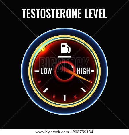 Testosterone deficiency concept. Low or high level male sex hormone production. Andropause health problem. Vector illustration in modern style isolated on a dark background.