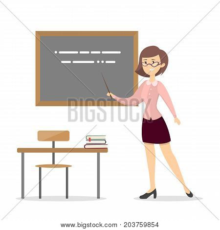 Female teacher at school. Isolated woman with chalkboard.