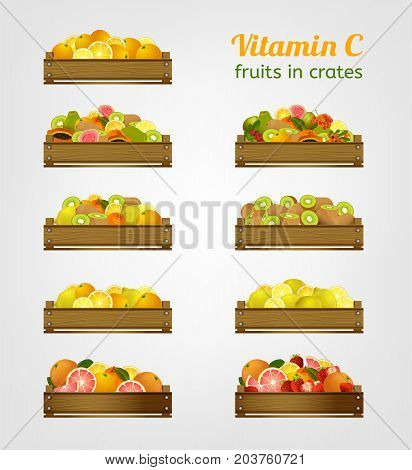 Vitamin C fruits in wooden crates. Different boxes isolated on white background. Transportation and storage of fresh  healthy products.Vector illustration in bright colours.
