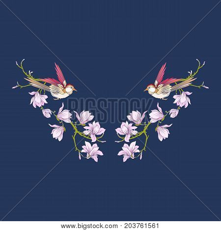 Neckline with flowers and swallow on black background. Stock line vector illustration.