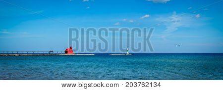 On Lake Michigan the lighthouse at Sturgeon Bay Wisconsin.