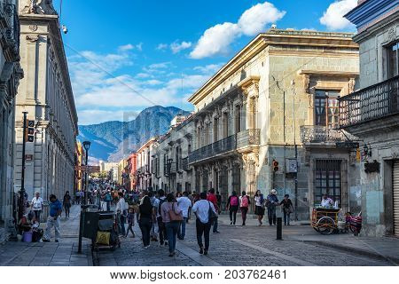 OAXACA MEXICO - MARCH 4: Busy pedestrian street in the historic center of Oaxaca Mexico on March 4 2017