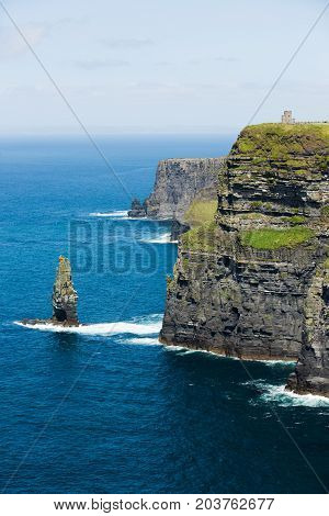 Cliffs of Moher, North Ireland sea coastline, sunny summer landscape