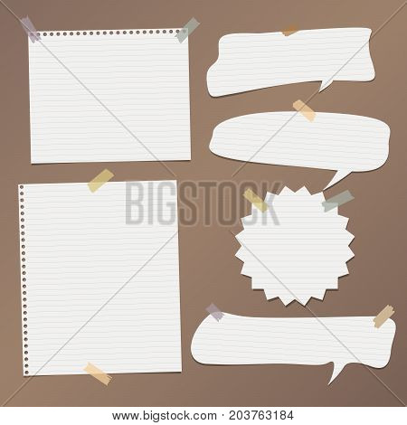 White striped speech bubbles, note, copybook, notebook paper with stuck on brown background