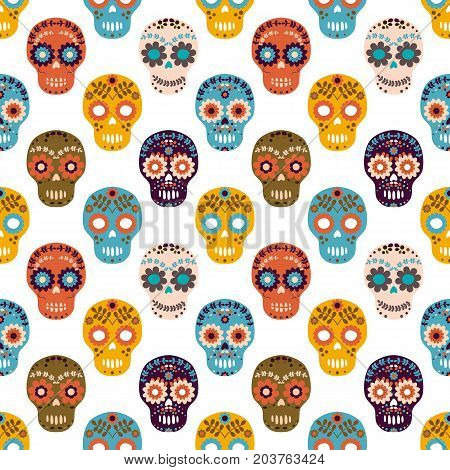Vector seamless pattern with colorful flower sugar skulls for Halloween designs textile and clothing