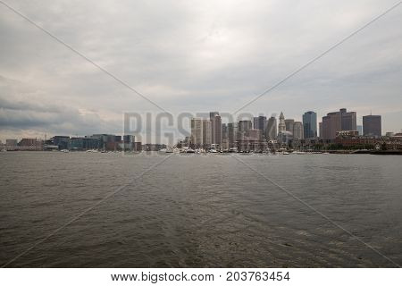 Boston Skyline And Cityscape From The Harbor